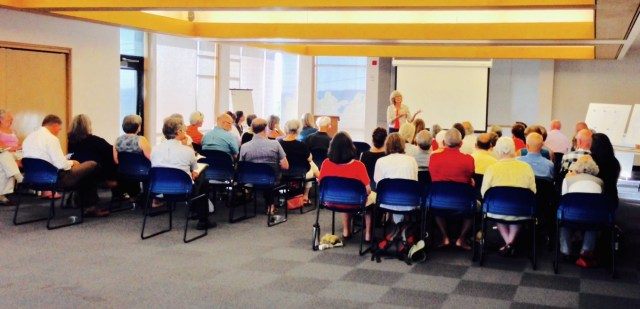 Frances Chapin speaks to Edmonds Mini Arts Summit participants Monday night.