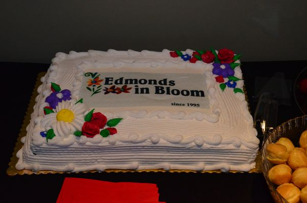 The commemorative cake held center stage on the buffet table.
