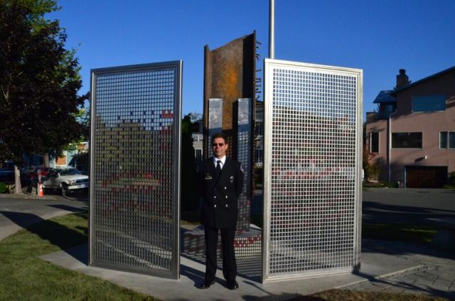 """Edmonds Firefighter Dave """"Bronco"""" Erickson, who spearheaded the project from conception through completion, was master of ceremonies at the dedication of the 9-11 Memorial in 2015."""