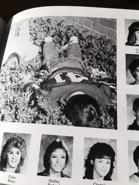 This Woodway High School yearbook photo documents face dancing in 1985.