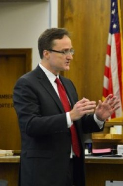 Prosecutor Craig Matheson describing in detail the events of Jan. 17 to the jury.
