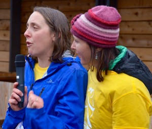 Snohomish County Girls on the Run Executive Director Megan Wolfe thanks the crowd as Board Chair Kerry Richter looks on.
