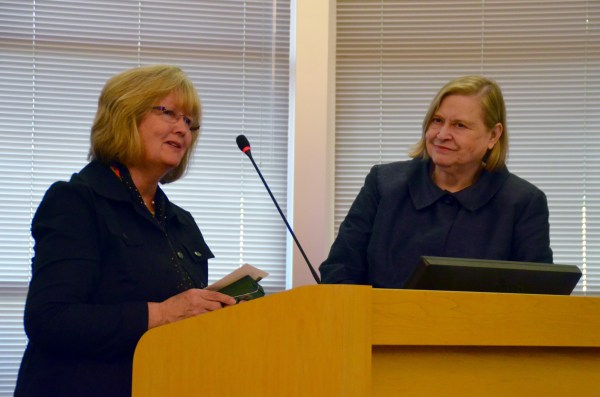 "Edmonds City Council President Kristiana Johnson commended former City Clerk Sandy Chase for her ongoing efforts to assist the City Council by coming back for part-time assignments, even though Chase officially retired from her job in 2013. ""You have repeatedly gone beyond the call in your duties, and for that this council is grateful."" Johnson said."