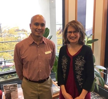 Sandi Daughton with Edmonds Managing Librarian Richard Suico.