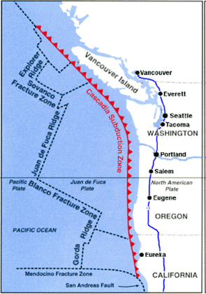 Cascadia Subduction Zone (CSZ) and fault lines from Cascadia Rising materials produced by the Federal Emergency Management Agency (FEMA).