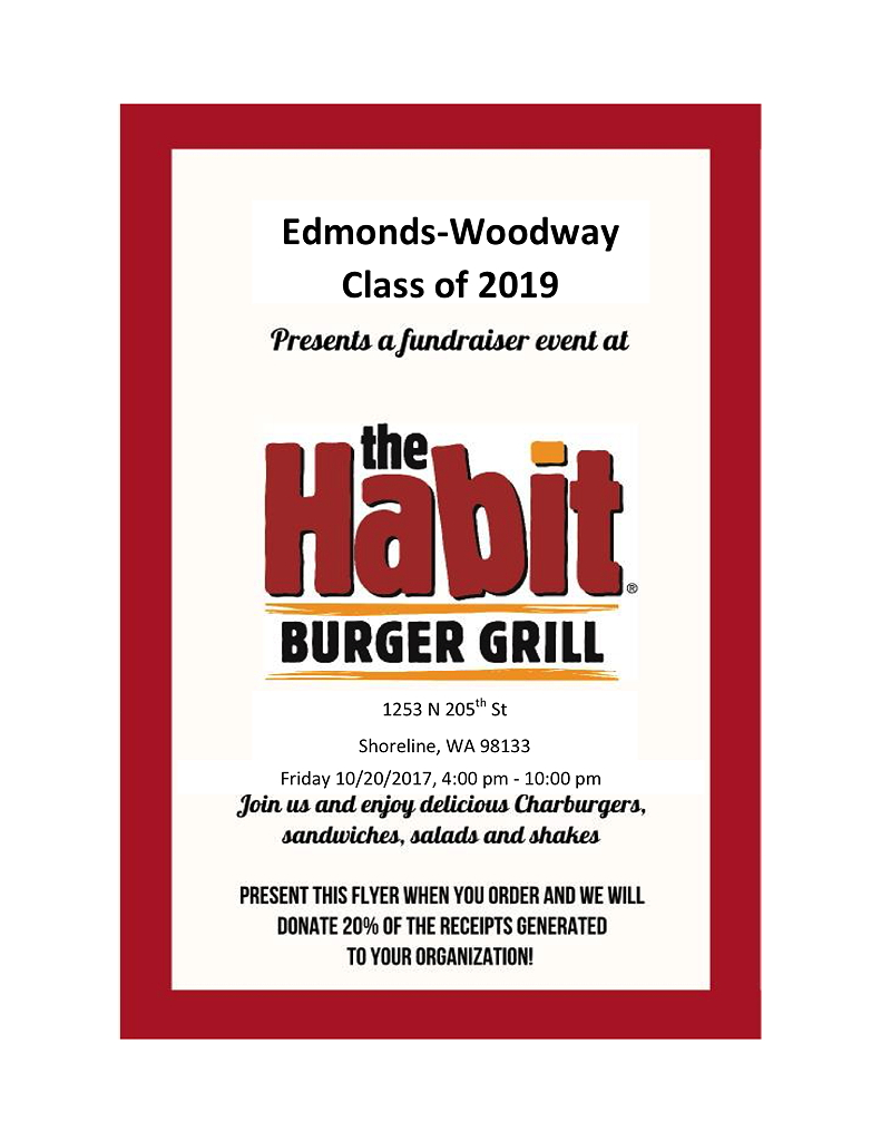 reminder ewhs class of 2019 fundraiser at habit burger grill oct 20 my edmonds news. Black Bedroom Furniture Sets. Home Design Ideas