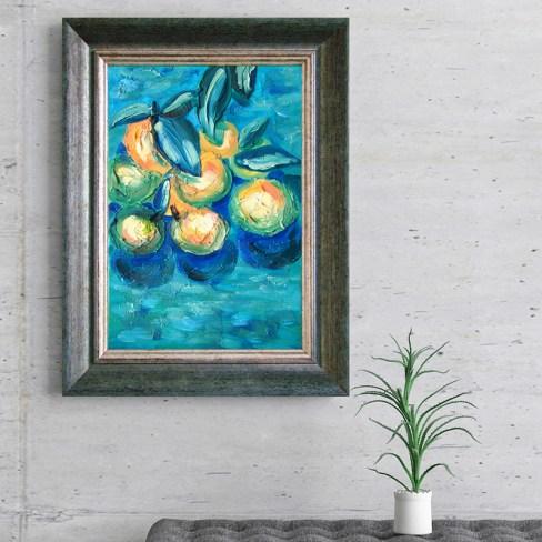 «Неспелые мандарины» объёмная картина в раме 20х30см.