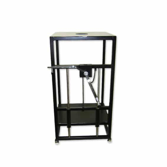 Specific gravity bench with crank operated shelf