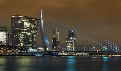 Escort Rotterdam. Nightlife, night lights on the bridge. Reflecting on the water.