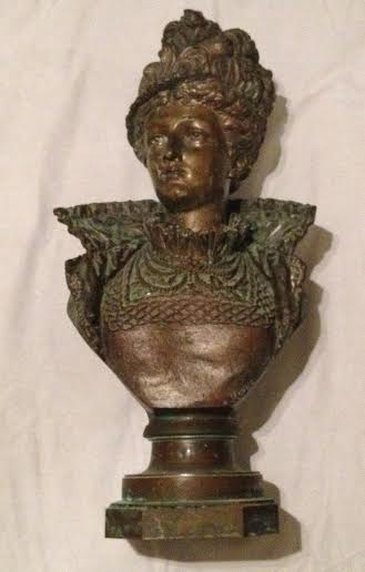 The bust featured in the photo was created in the image of Great Grandmother Knox, married to John Henry Hutchings, Sr. by an artist named Rancoulet. Galveston Historical Foundation will find it's true value at The Grand Preview on May 2. Estimates vary between $800 to $20,000, but GHF is leaving it to the experts at Simpson Galleries to find out the real value.