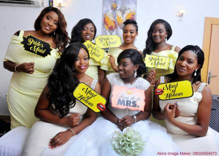 Props for bridal party with bride