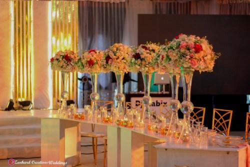 bridal table wedding decor and centerpieces blush floral arrangement