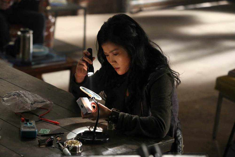 """A Cyclone"" -- After Team Scorpion fails a military training mission, they are determined to prove their worth to Cabe and Homeland Security when a bomber threatens to take out the internet infrastructure of the entire Southwest, on SCORPION, Monday, Oct. 6 (9:00-9:59 PM, ET/PT), on the CBS Television Network. Pictured: Jadyn Wong as Happy Quinn. Photo: Michael Yarish/CBS �©2014 CBS Broadcasting, Inc. All Rights Reserved"