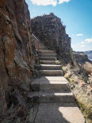 Stairs leading to the caves above Lake Lenore. These caves were once used by Native Americans.