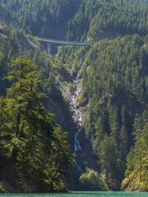 Horsetail Falls and the Highway 20 bridge high above us.