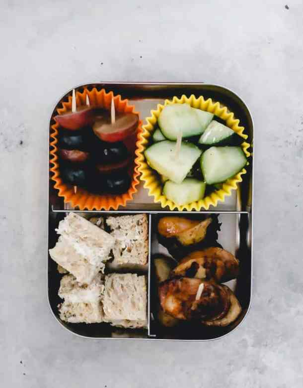 bento box lunch on a stick overhead