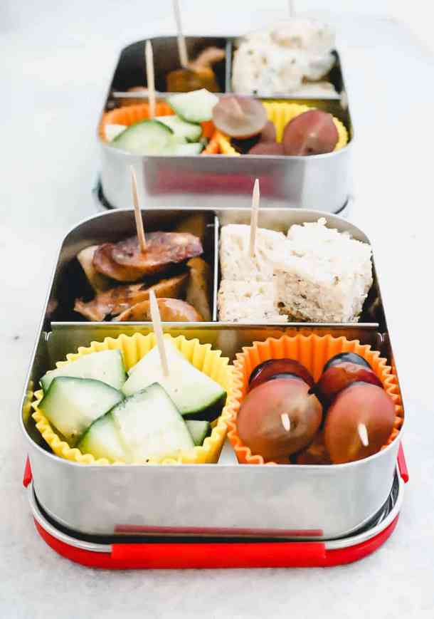 bento box lunch on a stick front view