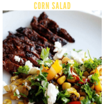 carne asada with pepper and corn salad - pinterest