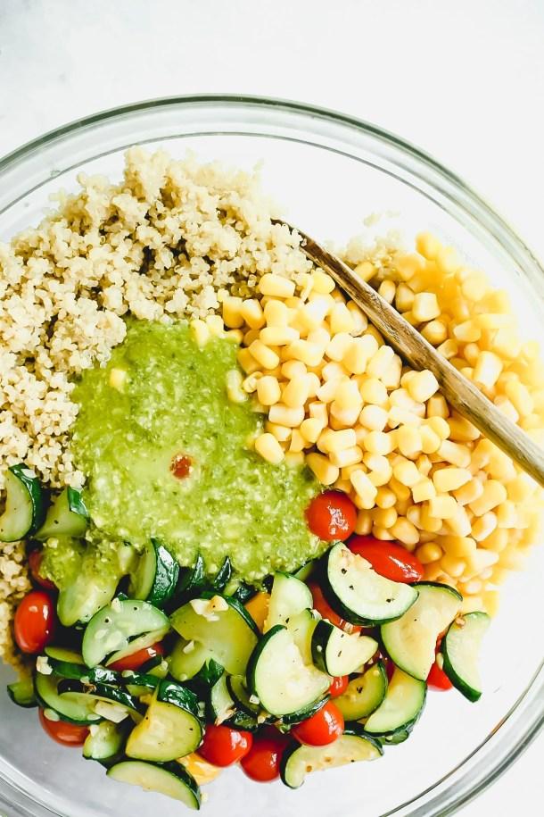 cold quinoa salad with corn, tomatoes, zucchini
