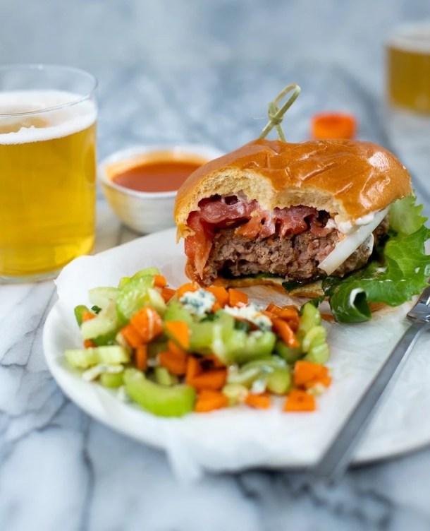 buffalo turkey burger recipe with celery slaw