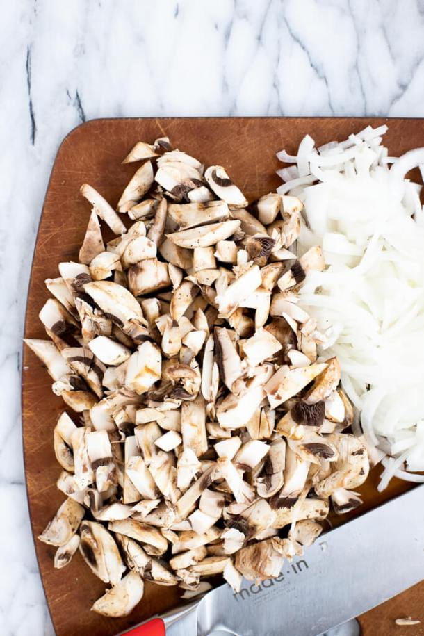 mushrooms and onions for oven baked turkey sliders