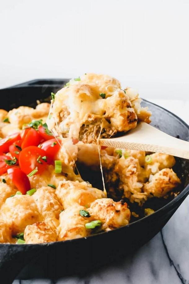 mexican tater tot hotdish - scoop out of pan