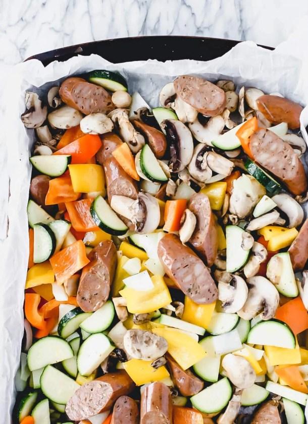 italian sausage and veggies on a sheet pan