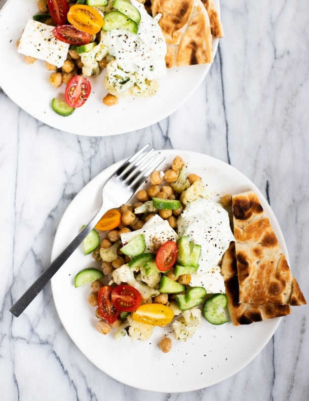 plates with Greek chickpea dinner