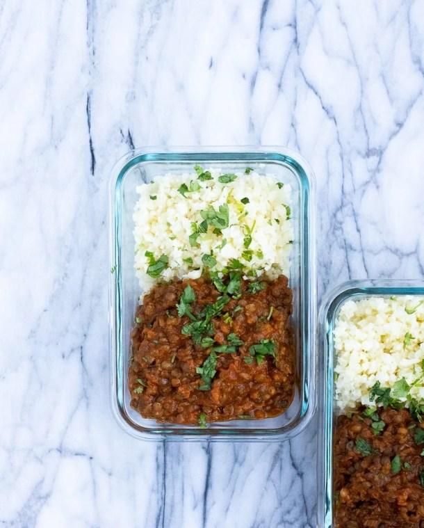 trader joe's masala lentils in meal prep