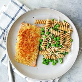 baked panko salmon recipe with peas and pasta