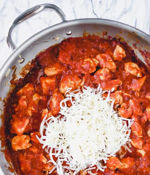 chicken parm pasta skillet