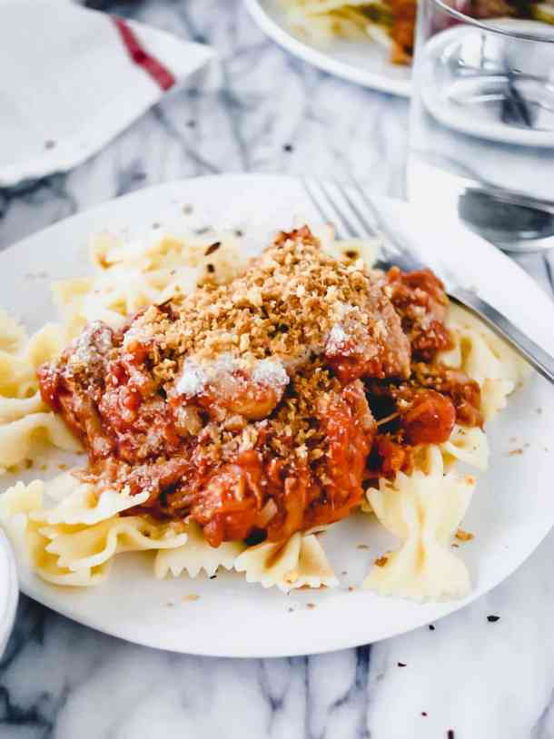 chicken parmesan pasta recipe with breadcrumbs