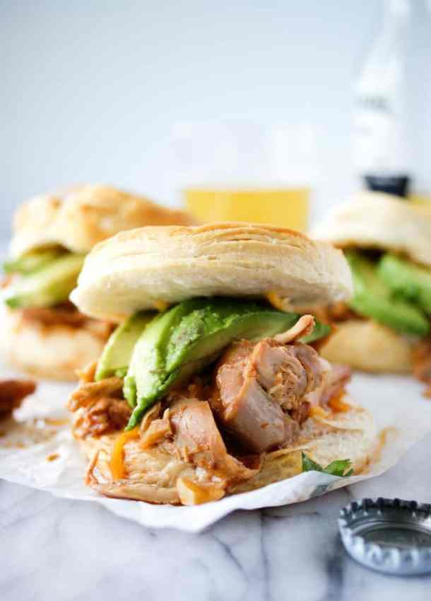 crockpot chipotle chicken thighs sandwiches