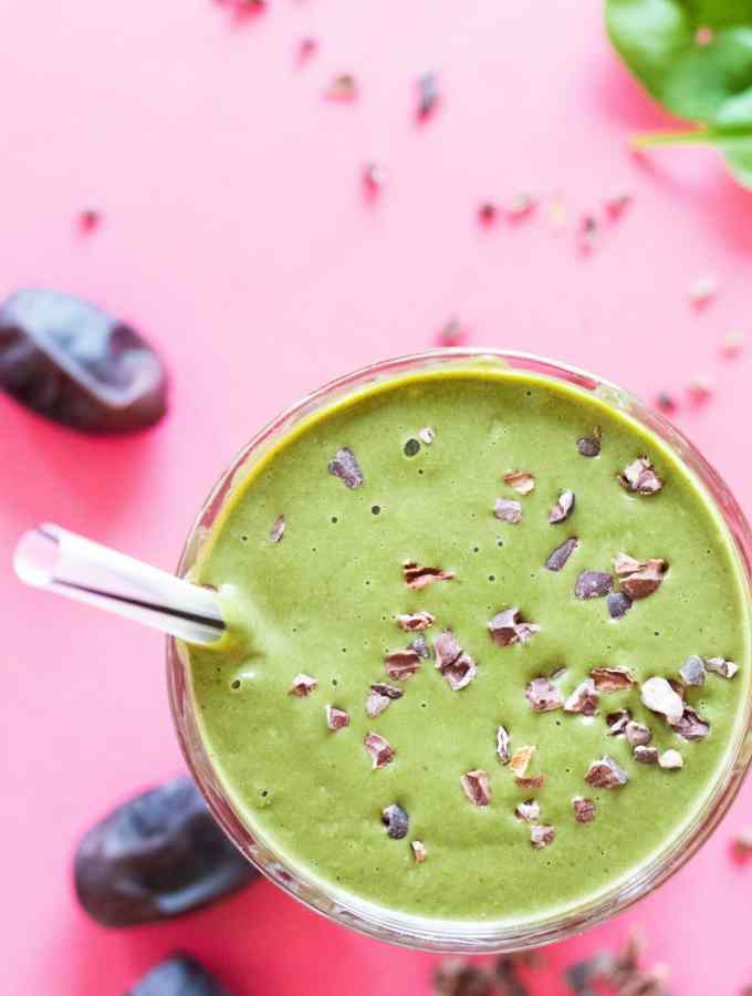 glass of green peanut butter smoothie