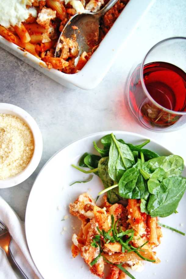 Easy Baked Ziti plate with wine
