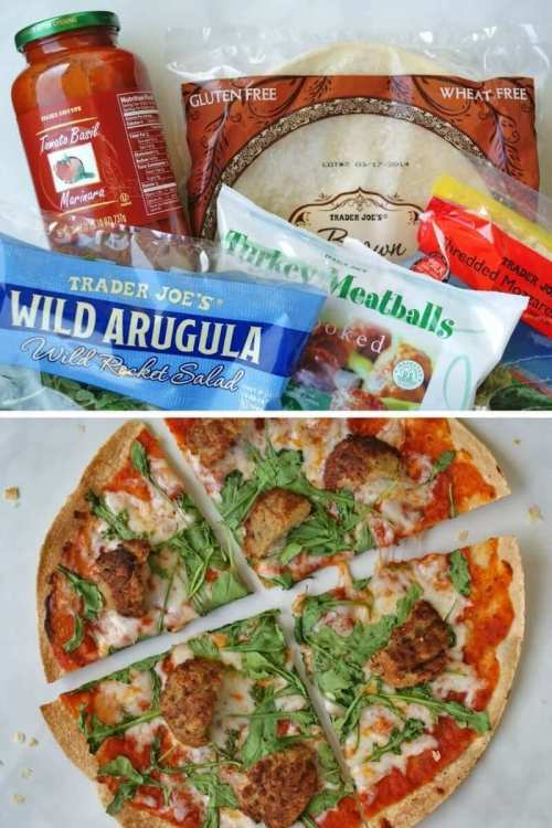 easy trader joes recipe pizza with meatballs