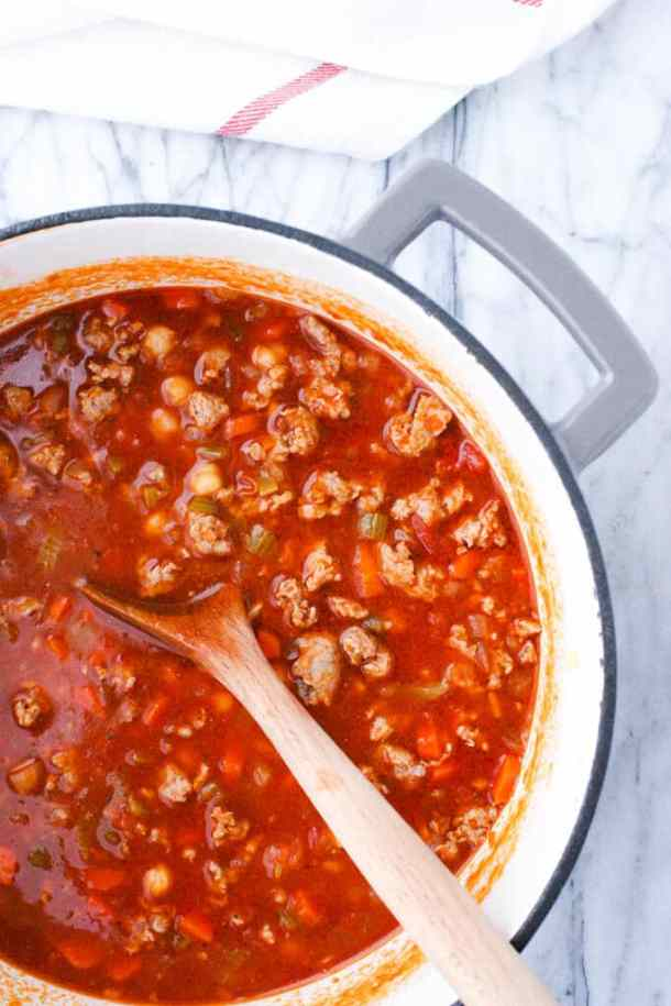 dutch oven with soup