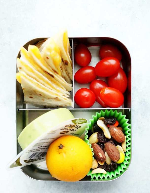 Healthy Cheese Quesadilla Bento Box Lunch