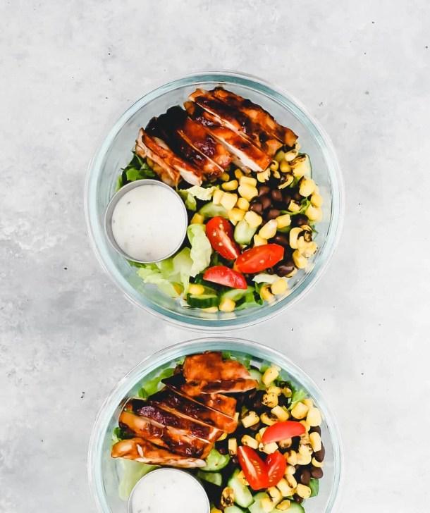 southwestern salad meal prep bowls