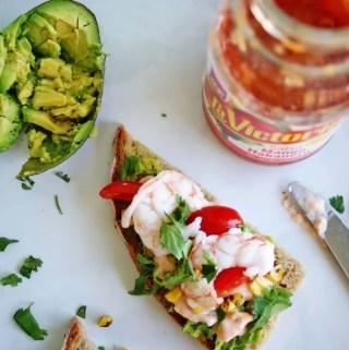 Spicy Shrimp & Avocado Tartine | anutritionisteats.com