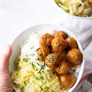 trader joe's meatballs rice bowl