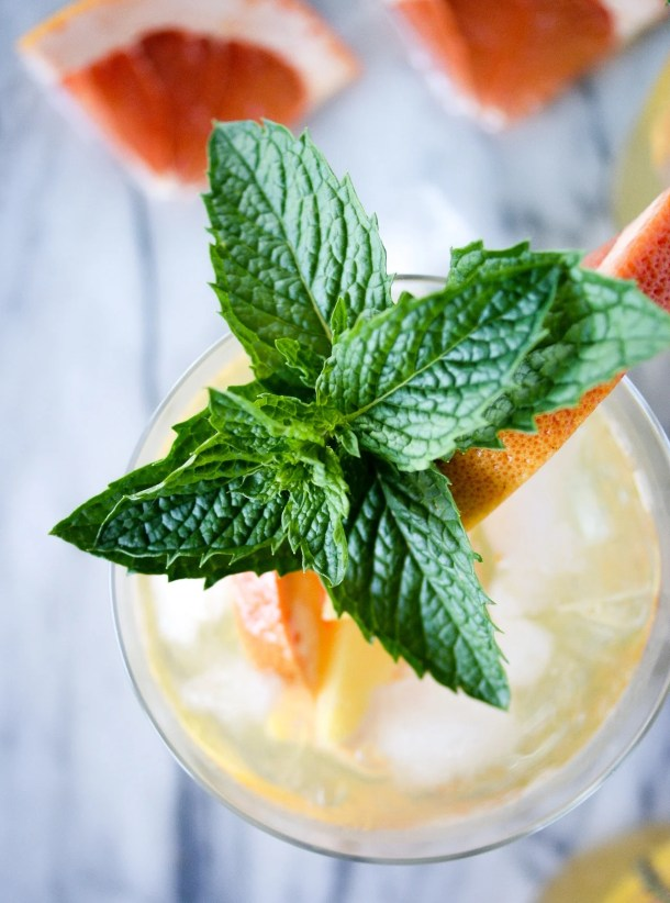 wine sangria recipe with mint garnish