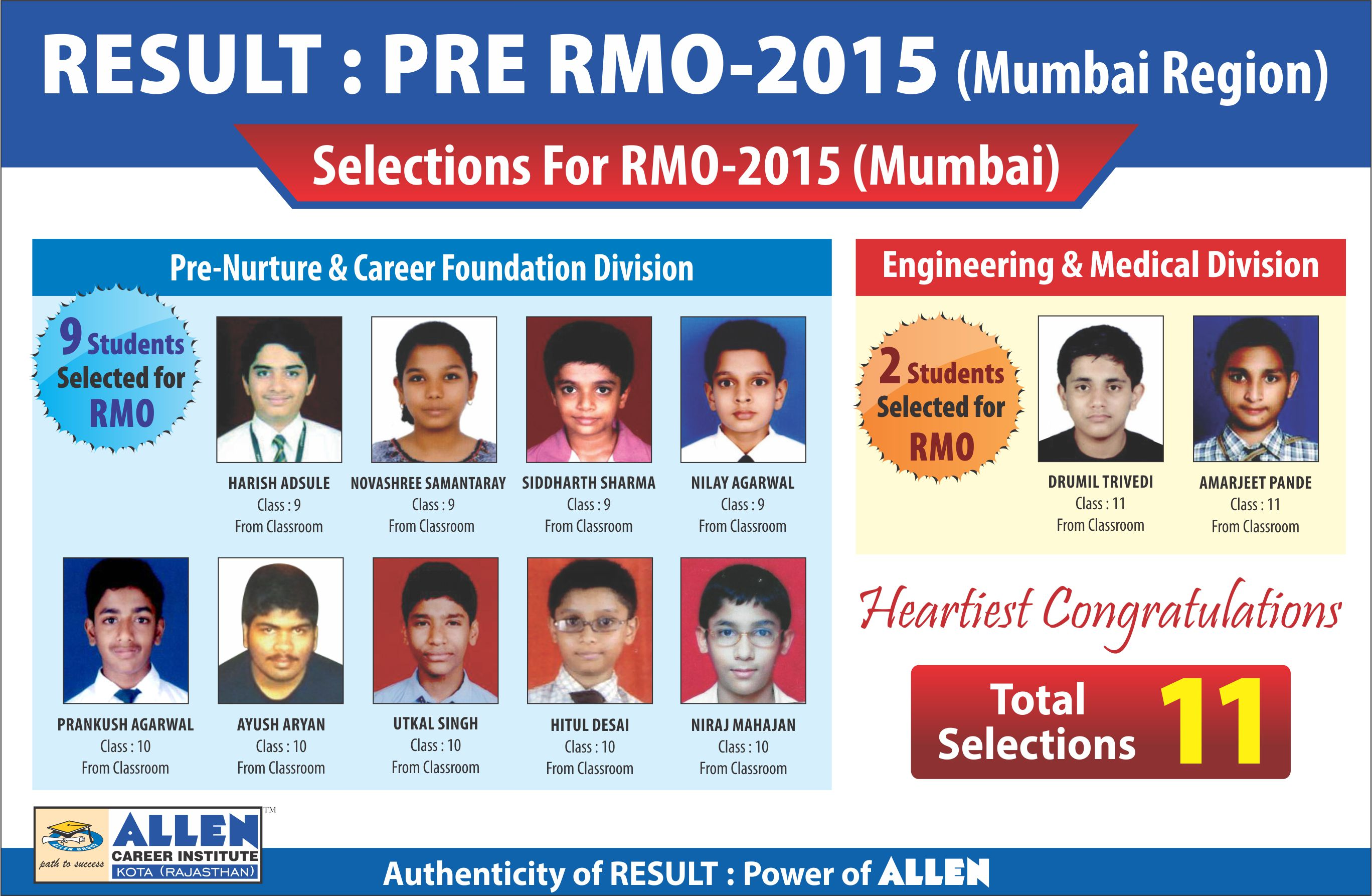 Heartiest Congratulations To All 11 Selected Students From