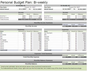 Biweekly Budget Biweekly Budget Excel Template