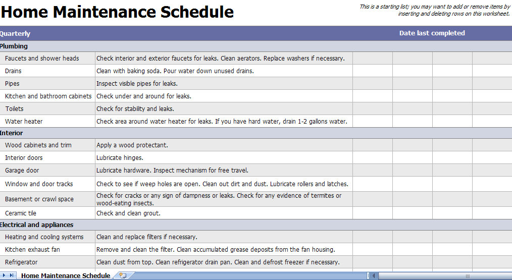 regular home maintenance checklist