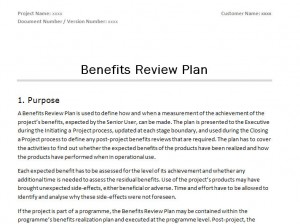 Free Prince2 Benefits Review Plan Template