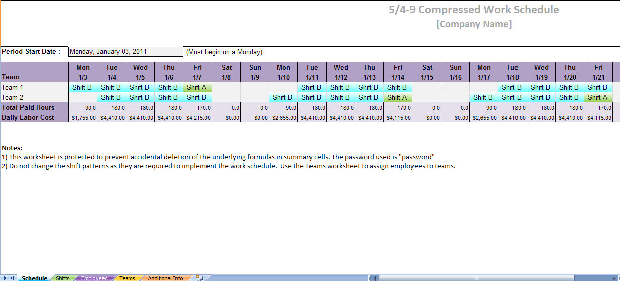 printable work schedules