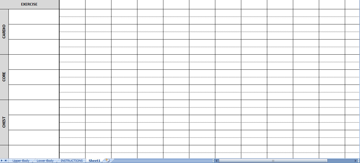 workout sheets excel