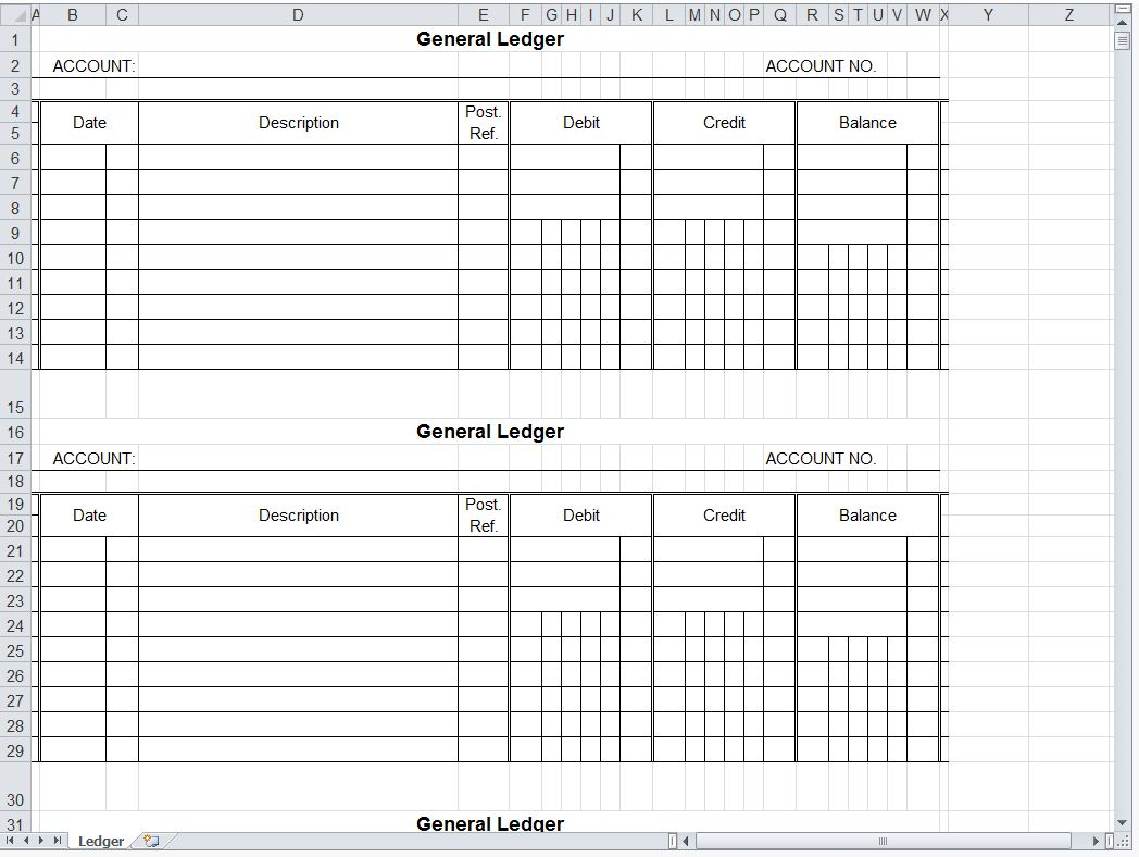 General Ledger Spreadsheet