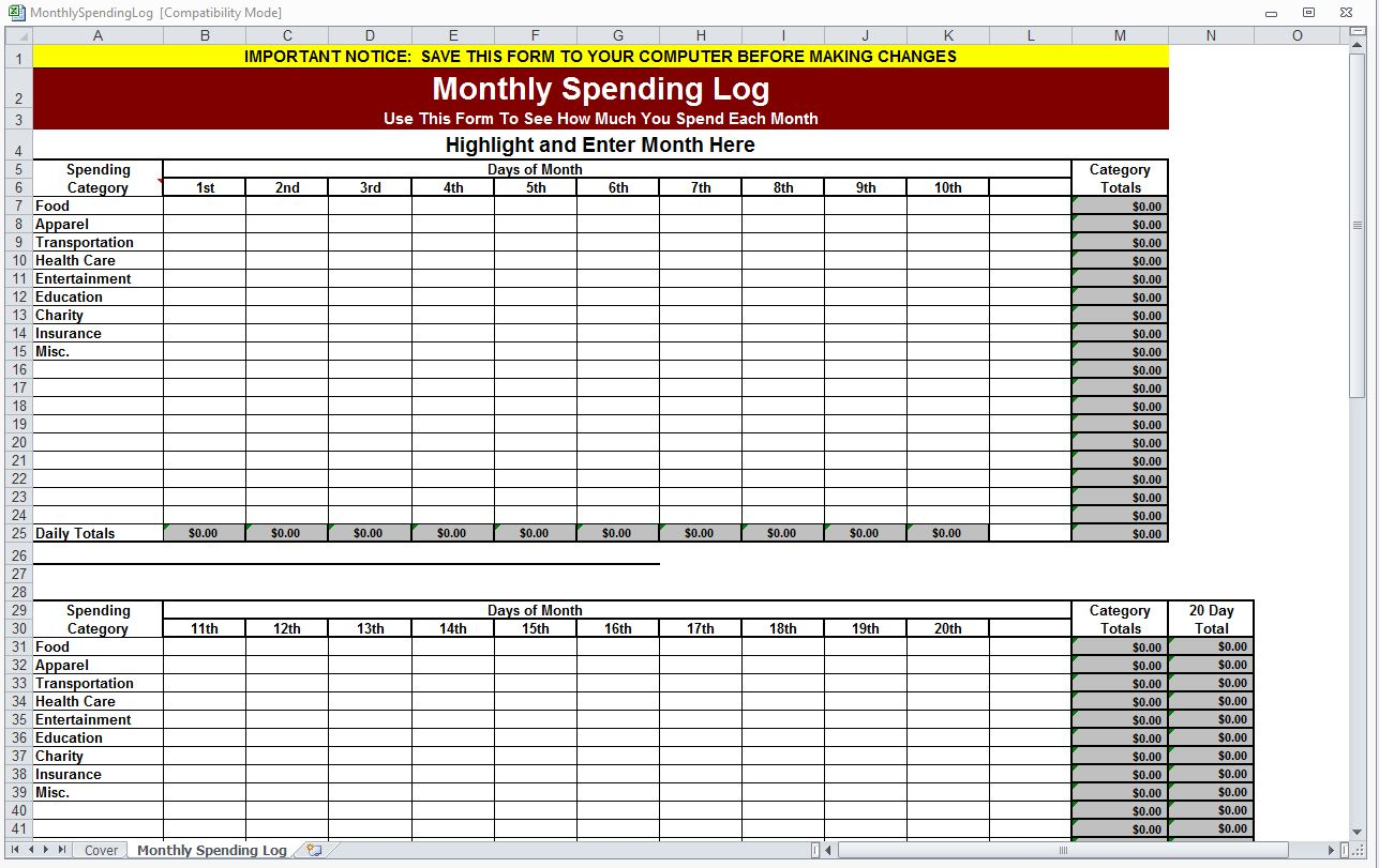 Search Results For Blank Monthly Expense Sheet